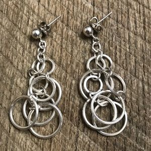 925 Sterling Silver Dangled Hoop Earrings